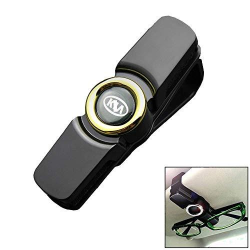 Mirage Glas-Halter for Auto-Masken-Sonnenbrille mit Karte und Ticket-Clip geeignet for KIA, Silver (Color : Goldside)