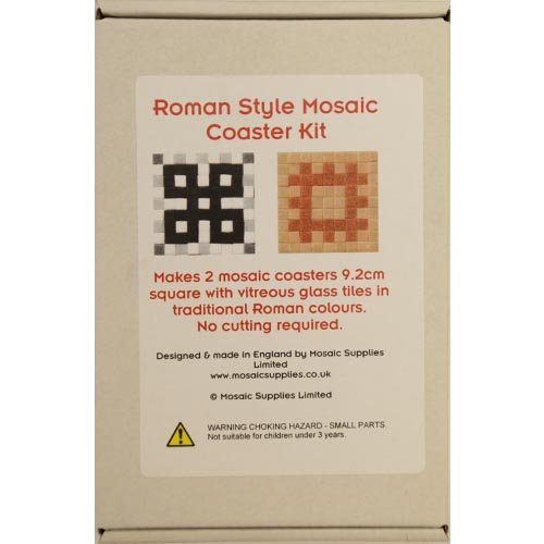 Mosaic Coaster Kit, Makes 2 Roman style coasters with real glass tiles. No cutting required.
