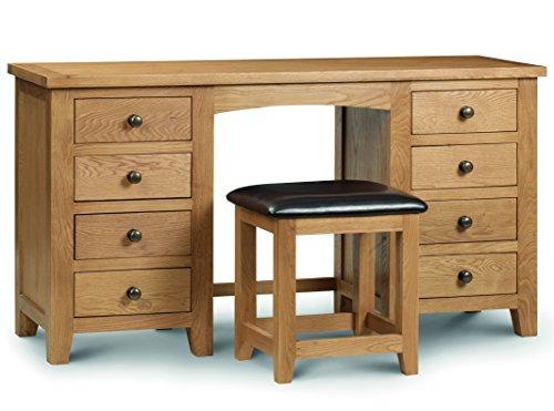 Julian Bowen Marlborough Twin Pedestal Dressing Table, Waxed Oak