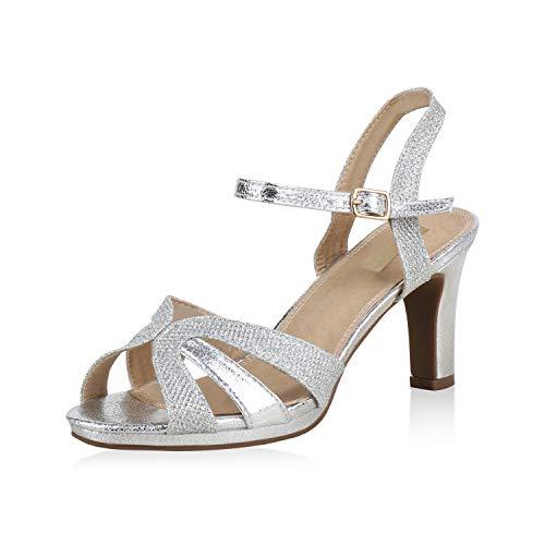 SCARPE VITA Damen Riemchensandaletten Glitzer Party Sandaletten High Heels 173356 Silber Silver Glitzer 40