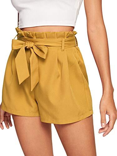 DIDK Kurze Hosen Damen Sommer, Damen Locker Shorts Elastischer Bund Casual Sommerhose Sommer Short mit Schleife Gürtel Einfarbig Gelb S