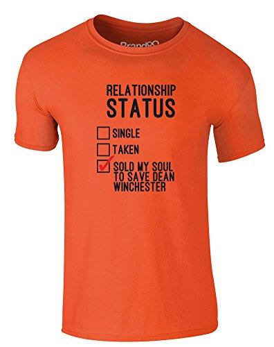 Brand88 - Sold my Soul to Save Dean Winchester, Erwachsene Gedrucktes T-Shirt Orange/Schwarz/Rote