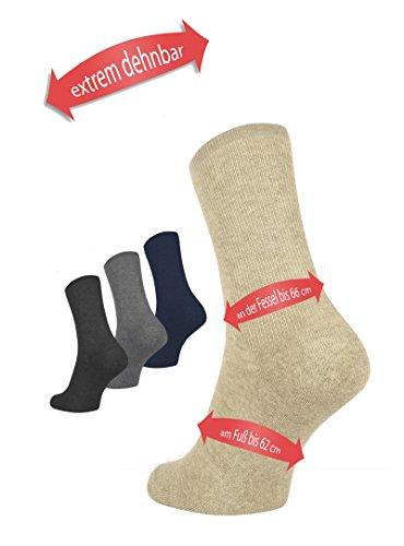 MoserMed extrem dehnbare Socken bis 66 cm Knöchelumfang (XXL = Schuhgröße 44 - 47, beige) (Geschwollene Diabetiker Füße)