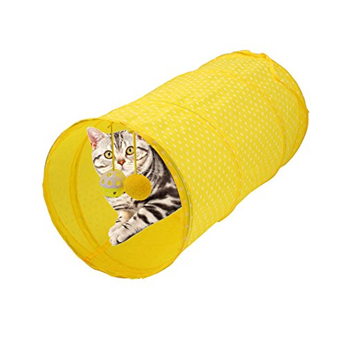 Ainstsk Katzentunnel, Faltbar Joinable Tunnel Cat Tunnel Spielzeug Spielen Interaktives Tube mit Pompon und Glocken für Hundewelpen, Katzen, Kätzchen, Kaninchen und Andere Kleine Haus Tiere