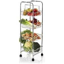 Kitchencraft - Carro auxiliar con 4 cestas para cocina (25 x 25 x 86 cm), color cromado