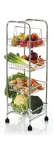 Kitchen Craft Storage Trolley Carrito de Cuatro Niveles para Almacenar con Cestas Desmontables, Cromo