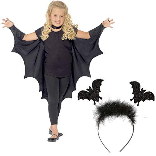 NET TOYS Vampir Fledermausflügel mit Fledermaus-Haarreifen | schwarz mit 120 cm Spannweite | Hochwertiger Kinder-Umhang Fledermaus Vampirflügel | Ideal für Halloween & Walpurgisnacht