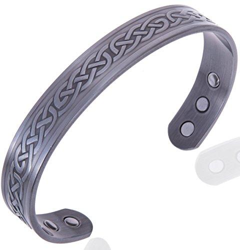 Keltischer Herren KupferArmband, Hartzinn Magnetisch Armreif Mit 6 Starken Magneten (Arthritis Magnetschmuck)