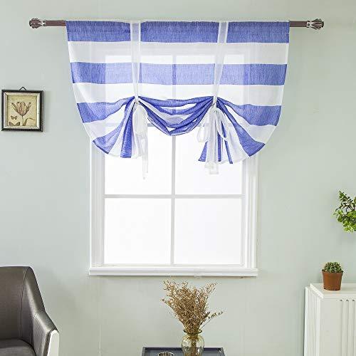 Clothink HxW:90x40cm Raffrollo Schlaufen Gardinen Voile Vorhänge blau