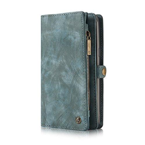 Galaxy S8 Plus Hülle,ZipperCard Slots Kartensteckplätze Geldtasche Clutch Cover Zipper Geldbörse Case Ständer Smart Wallet Kreditkartenfächer Leder Brieftasche Magnetic Phone Sleeve