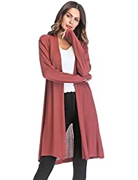 FNKDOR Women s Casual Fashion Loose Gradient Solid Knit Cardigan Retro Long  Sleeve Coat 6a9bf8530