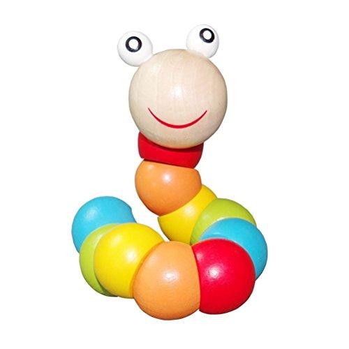 PAMRAY Twist Wurm Spielzeug Kleinkinder Baby Verwandeln Korn Blöcke Zählen Toys Farbe Erkenne Holzspielzeug 1 Alter Lehrreich