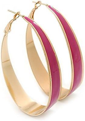 Arracadas ovaladas con esmalte color fucsia con enchapado de oro