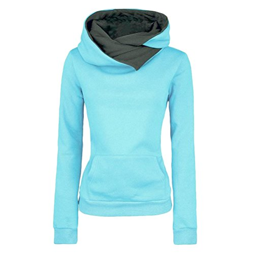 Zhhlaixing Moda popolare Womens Fashion Personalized Shirts Hoodies with Special Hood Design Slim Style Sweatshirt Blue