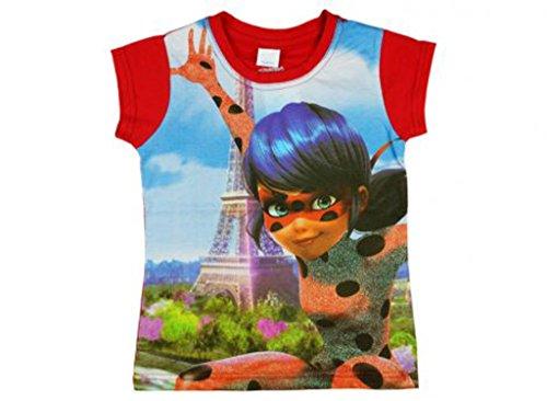 Mädchen- Kurzarm-Shirt Lady-Bug, Oberteil aus Baumwolle in Grösse 104, 110, 116, 122, 128, 134, 140, T-Shirt in Rot mit Süßem, Großflächigem Motiv, Cat Noire Größe 1 (Luna Girl Kostüm)