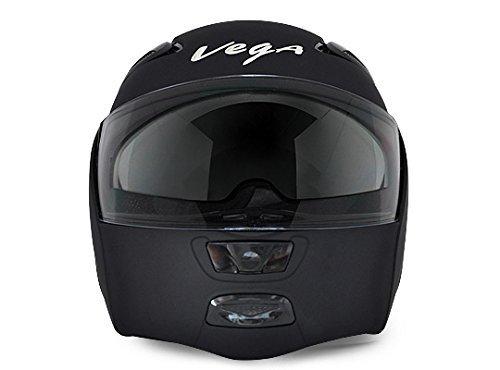 Vega Boolean Flip-up Helmet with Double Visor (Dull Black)