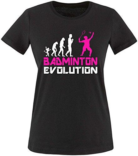 EZYshirt® Badminton Evolution Damen Rundhals T-Shirt Schwarz/Weiss/Pink
