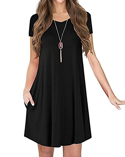 b30da918caa6a POSESHE New Women's Short Sleeve Pocket Casual Loose T-Shirt Dress Black M  - Buy Online in Oman.   poseshe Products in Oman - See Prices, Reviews and  Free ...