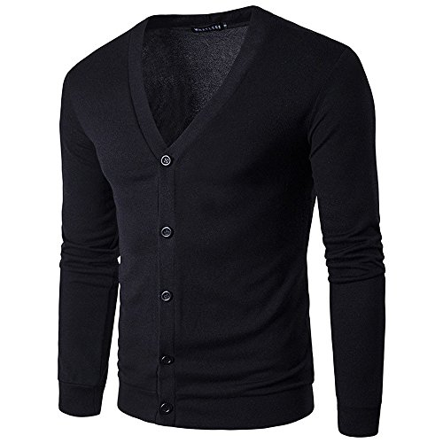 KPILP Männer Herbst Winter Taste V-Ausschnitt Casual Arbeit Langarm Komfortable Stricken Pullover Strickjacke Home Coat(Schwarz, EU-48/CN-XXL
