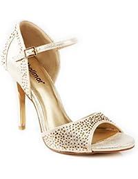 Amazon.es  zapatos dorados fiesta - Zapatos de tacón   Zapatos para ... 5faef3bcf162
