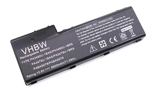 vhbw Li-ION Batterie 6600mAh (10.8V) pour Ordinateur Portable, Notebook Toshiba Satellite Pro P100-420, P100-422, P100-438 comme PA3479U-1BRS.