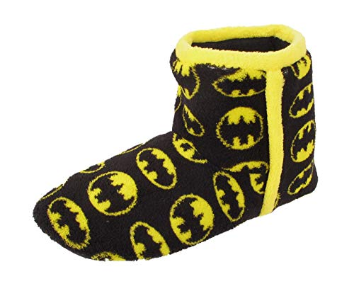 Boys Batman Slipper Kids Novelty Boots Fleece Slip On DC Comics Winter Warm Shoe