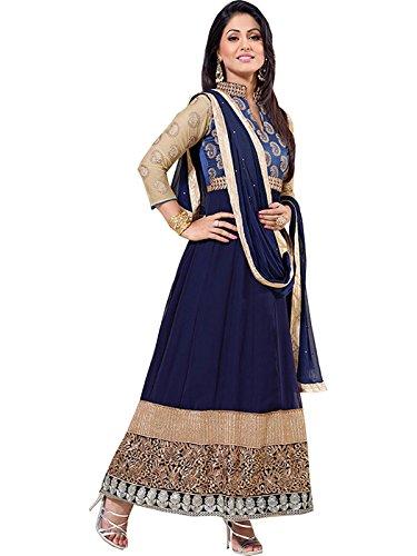 Pappenburg Hina Khan Designer Donna Lunga Anarkali Suit Blue Max fino a 72
