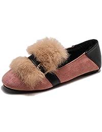 JRenok Femmes Chaussures Plates Slip-on Chaussures Printemps Automne Solide Flock Toe Carré Plume Boucle Bas Talon Court en Peluche Casual Chaussures
