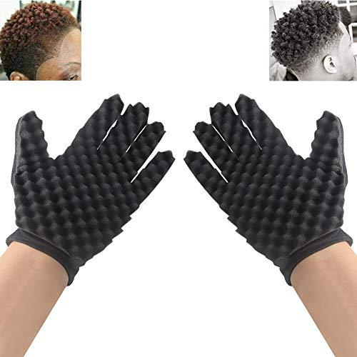 INTVN Haarbürste Schwamm das DIY Double Side Mode Curls Coil Magie Werkzeug Welle Barber Haarbürste Schwamm Schwarz lockenwickler Handschuhe