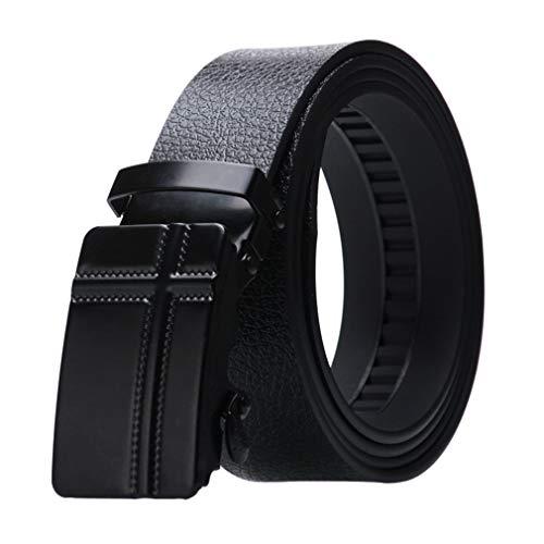 Cinturón Hombre vestido de cuero de la PU de la correa de trinquete con hebilla automática Casual Negro correa de cintura de la correa de la pretina de los pantalones vaqueros, 120CM Longitud