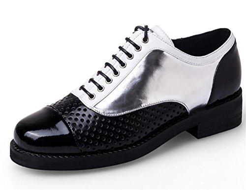 LDMB Frauen-lederner beiläufiger Schuh-Kreuz-Bügel-runder Haupt-einzelne Schuhe silver black