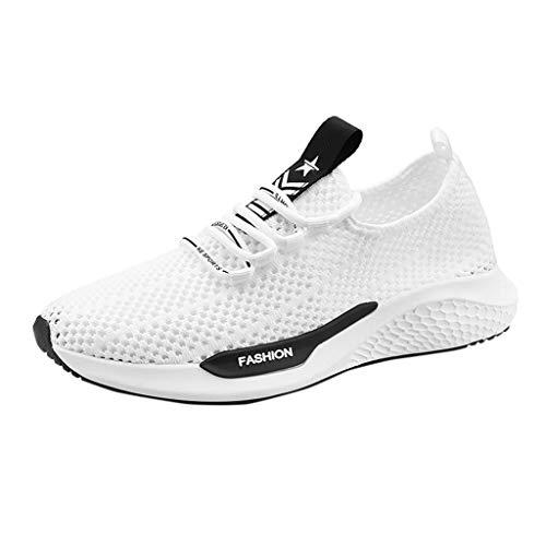 huhe Turnschuhe Bequem Mesh Ultra-Leicht Atmungsaktiv Gym Fitness Sportschuhe Sneaker Schnürer Straßenlaufschuhe 39EU-44EU (Weiß, 40 EU) ()