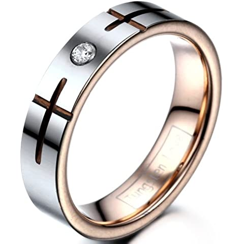 jewelrywe joyas 5mm de ancho, tungsteno–Anillo de mujer con grabado Cruz Boda Compromiso Promesa, color rose Oro Plata Tamaño 49hasta