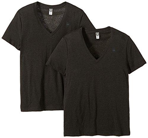G-STAR Herren T-Shirt Base V Heather 2er Pack, Gr. Medium, Grau (asfalt htr 4968)