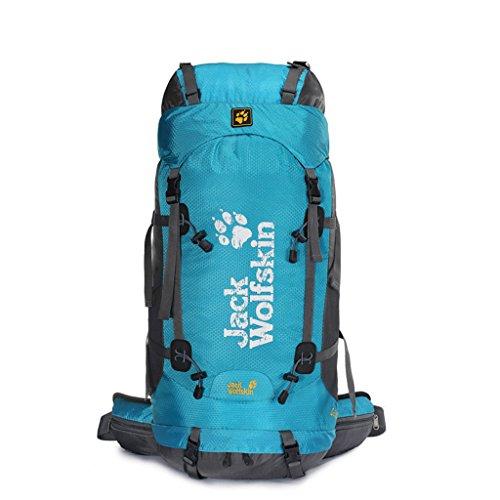 Outdoor-Klettern Tasche Wanderrucksack Camping Rucksack Sport wasserdichter Rucksack blau 60L