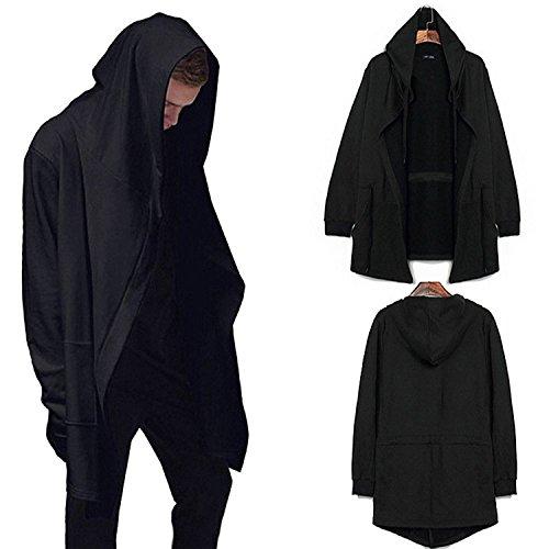 De manga larga para hombre sudadera con capucha Sudadera con capucha Cárdigan Outwear la capa de la chaqueta (XXL)