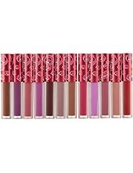 Lot de 12 Couleurs Maquillage Waterproof à Lèvres Mat Liquide Beauté Brillant Rouge à Lèvres