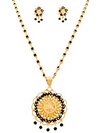 BFC- Mahalaxmi Designer One Gram Gold Plated Black Princess Diamond Chain Pendant Set For Women And Girls