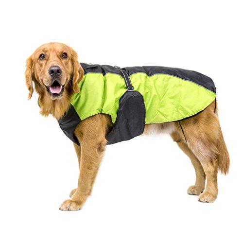 YiJee Perro Abrigo De Ropa Mascota Impermeable Acolchado Chaqueta Chaleco Verde 4XL