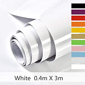 Hode Selbstklebende Klebefolie für Möbel,Küche,Wasserdicht Vinyl,40cmX300cm,Weiß,Designfolie Selbstklebend