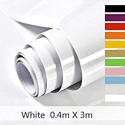 Hode Papier Adhesif pour Meuble,Cuisine,Porte,Mur, Stickers Meuble 40cmX300cm(0.4 mètres de Large, 3 mètres de Long),Vinyle,Autocollants Meuble, Blanc