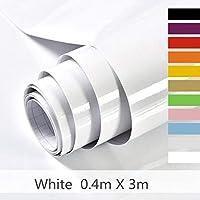 Hode Papier Adhesif pour Meuble Cuisine Porte Mur Stickers Meuble Vinyle Autocollants Meuble Blanc 40X300cm