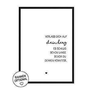 Verlass dich auf dein Herz - Kunstdruck auf wunderbarem Hahnemühle Papier DIN A4 -ohne Rahmen- schwarz-weißes Bild Poster zur Deko im Büro/Wohnung/als Geschenk Mitbringsel zum Geburtstag etc.