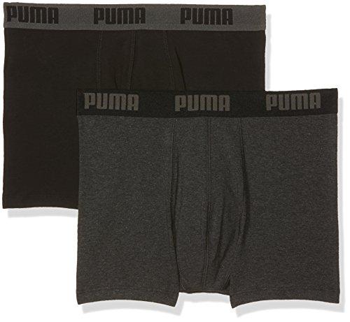 Puma Herren Boxershorts 2er Pack, Dark Grey Melange/Black, M