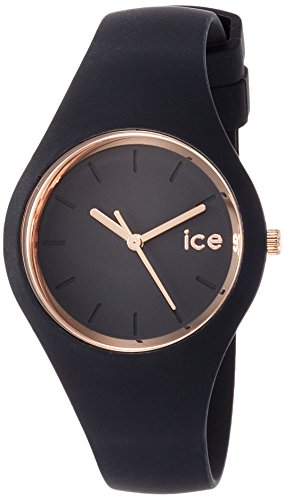 Ice-Watch - ICE glam Black Rose-Gold - Schwarze Damenuhr mit Silikonarmband - 000979 (Small)