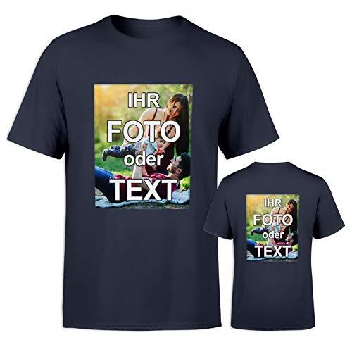 T-Shirt mit eigenem Foto Text Logo Name selbst gestalten * ringgesponnene Baumwolle * vollfarbig EINSEITIG Bedruckt * viele Farben, Farbe:Dunkelblau, Größe:XXL (T-shirt Rücken Gedruckt)