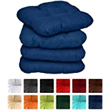 Beautissu Lot de 4 Galettes de chaise - coussins matelassés Lisa - 38x38x8cm - Bleu foncé - Extra doux et confortable - decoratif