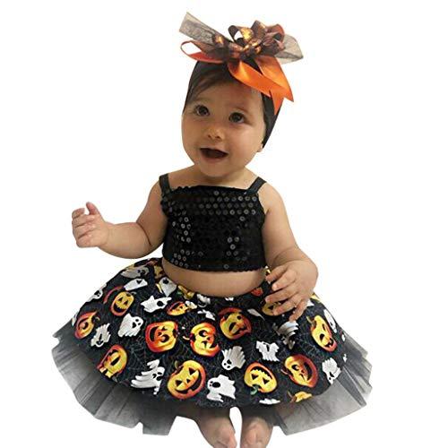 Romantic Halloween Kostüme Kinder Baby Mädchen Ärmellos Pailletten Sling-Oberteile + Kürbis Gedruckt Tutu Rock Mädchen 3er Set Kürbissmiley Tutu Mädchen für Karneval Party Halloween - Süßeste Monster Kostüm