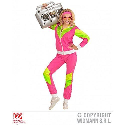 Jogginganzug neon / Trainingsanzug / Kostüm / Damenkostüm / Frauenkostüm 80er / 80 er Jahre in pink - grün Gr. L = 42