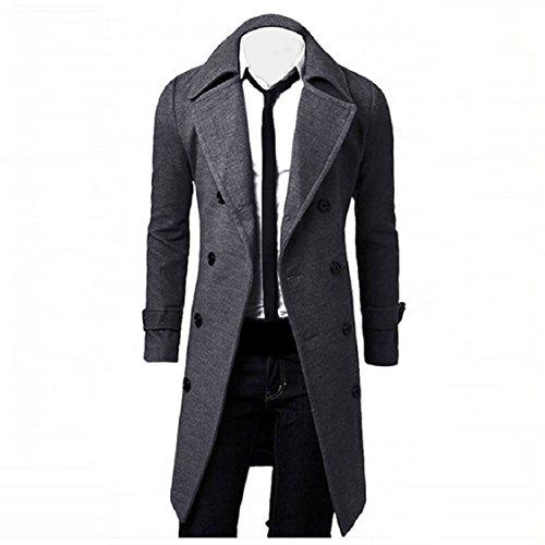 Vovotrade ❀❀ Winter Männer Slim Stilvolle Trenchcoat Doppelte Breasted Lang Jacke Parka (EU Size:36(M), Grau)
